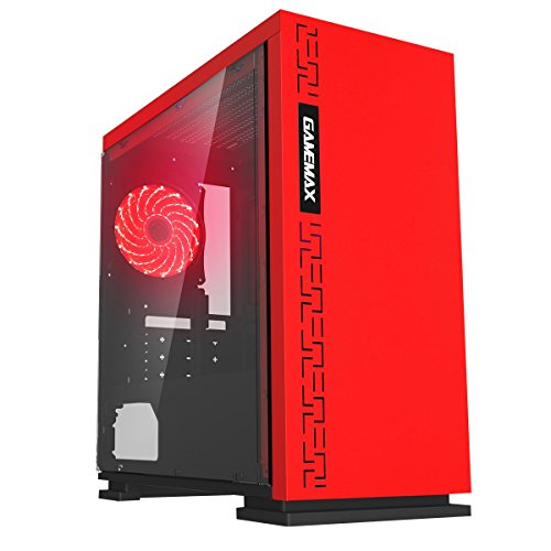 Game Max Expedition Red Gioco Matx PC Case Posteriore LED Ventola & Finestra Laterale Completa