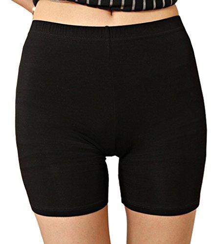 Liang Rou Damen Elasthan kurz Leggings Plain Farbe Schwarz M (Plus Size Kurze Röcke)