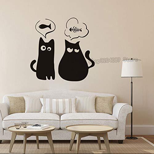 Persönlichkeit Katze Möchten Fisch Vinyl Wandaufkleber Dekor Wohnzimmer Schlafzimmer Kunst Wandbilder Removable Sales Decals 43X42CM (Fisch Möchten)