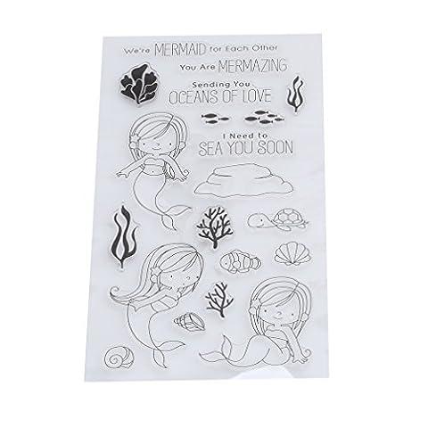 HENGSONG Transparent Silikon Stempel Set Kreativ Meerjungfrau Clear Stamps DIY Album Craft Scrapbooking Dekoration