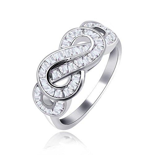 Uloveido Fancy Baguette Unendlichkeit Swirl Versprechen Verlobungsring für Frauen Mädchen Platin beschichtet - schöne Weihnachtsgeschenkideen JZ095 Größe 54 (17.2) (Verlobungsring Swirl)