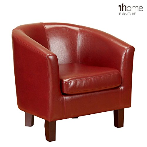 1home-bonded-leather-tub-chair-armchair-for-dining-living-room-office-reception-red