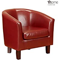 1home Bonded Leather Tub Chair Armchair for Dining Living Room Office Reception (Red)