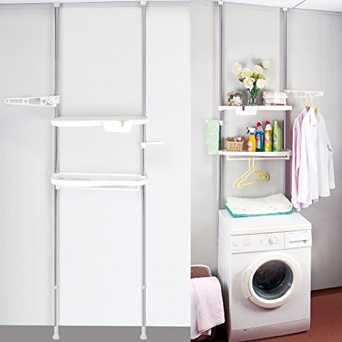 WOLTU BZ4109 Machine à laver de l'étagère,Machine laver racks pour étagère de rangement Support Rack,métal plastique,160-290cm,Blanc Chrome