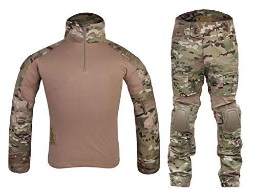 Menschen Armee Militär Trainingsbekleidung Airsoft Paintball Kriegsspiel BDU Anzüge Kampf Gen2 Taktisch Uniform Hemd Hose Kniepolster Multicam MC (XL)