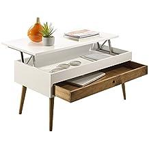 Hogar24-Mesa de Centro elevable con cajón Deslizante diseño Vintage, Madera Maciza, Color