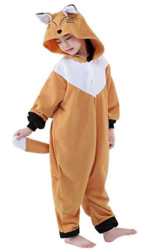 inder Tier kostüme Jumpsuit Erwachsene Schlafanzug Unisex Cosplay Kostüm (Fox, 125: 134-145cm) (Womens Orange Jumpsuit Kostüm)