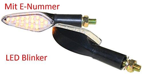 Preisvergleich Produktbild Motorrad Mini Blinker LED Shower schwarz klar E-geprüft M10 für Suzuki GSX GS 500 600 CPI SM Honda CB 600 500 Kawasaki KMX KLR 600 Yamaha DT 125 600