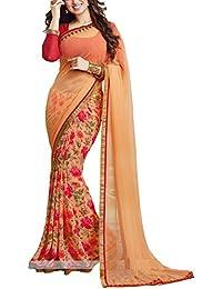 Angel Fashion Georgette Saree (P100_Orange)