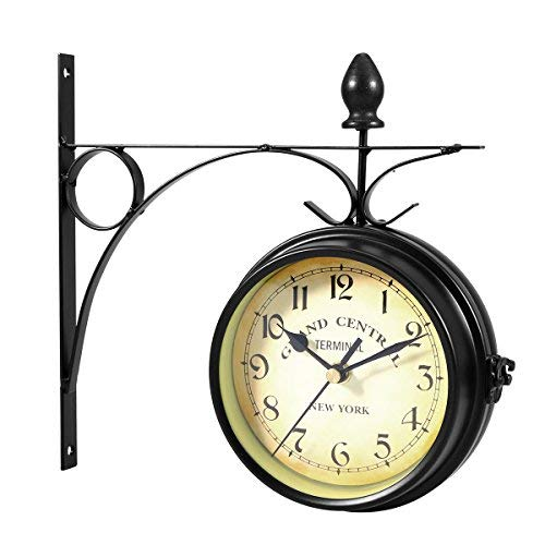 WINOMO Orologio da parete bifacciale creativo classico orologi di stile europeo monocromatico (nero)