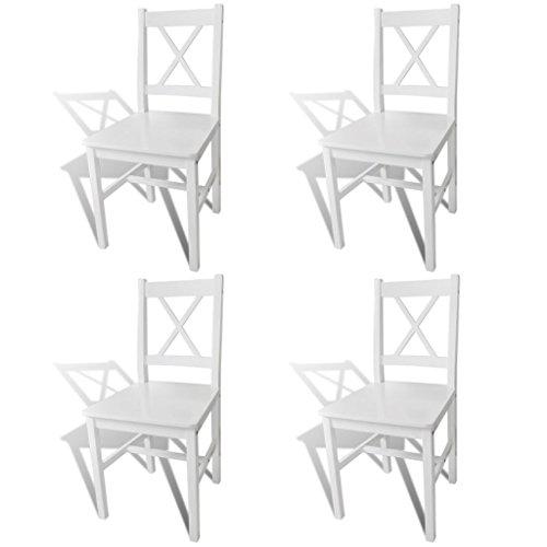 vidaXL 4X Sillas de Salón Comedor de Madera de Pino Blancas Silla de Cocina