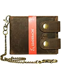 Leaderachi Hunter Leather Men's Wallet with Chain (Massa-Muskat)