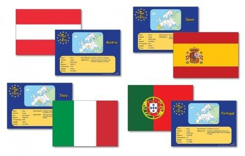 wildgoose Bildung wg1608europäischen Flaggen und Fakten Karte (28Stück)