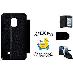 Générique Etui à Rabat Samsung Galaxy Note Edge Je Peux Pas j AI Piscine bouee Canard Fond Blanc