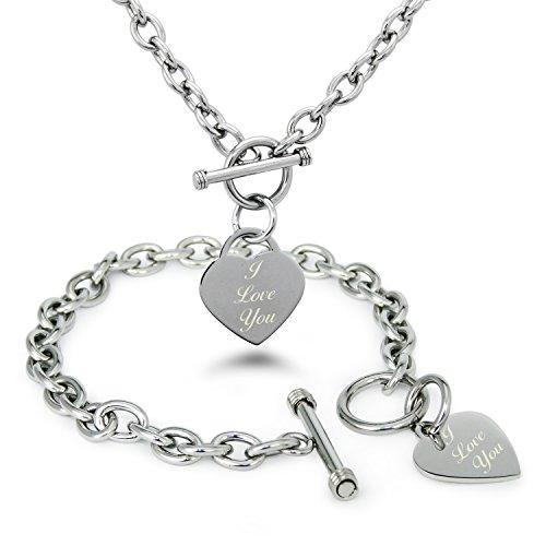 Edelstahl I Love You (Ich Liebe Dich) mit Gravur Herz Charme Armband und Halskette Set