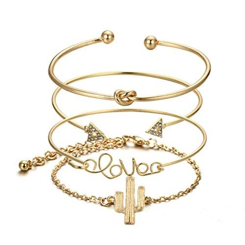 Italily 4pc nodo amore oro bracciali apertura vintage bellissimo foglia freccia braccialetto polsino set di braccialetti,unisex bracciali braccialetto collegamento polso catena (oro)