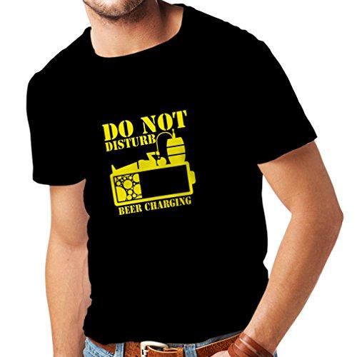 Männer T-Shirt Bier Aufladung - Alkohol Hemden, Büro Kleidung, für Party (XXXXX-Large Schwarz Gelb)