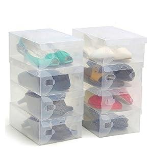 Scatole trasparenti per scarpe di plastica ondulate di Kurtzy - Adatta per scarpe piccole, medie e grandi - Perfette per viaggi, Scatola di immagazzinaggio per stivali - Scatola per scarpe da 10 pezzi