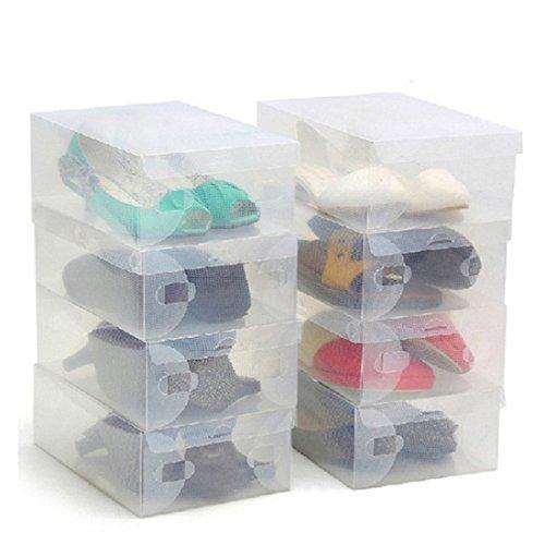Kurtzy Transparente Wellpappe Aufbewahrungsboxen Schuhkartons Schuhkarton für Aufbewahrungsstiefel Faltbarer Halter für Damen und Herren, für kleine große und mittlere Schuhe