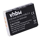 vhbw Li-Ion Akku 900mAh (3.7V) für Handy Telefon Nokia 3310, 3315, 3330, 3360, 3390, 3410, 3510, 3510i, 5510, 6800, 6810 wie BLC-2, US804533A1T4.