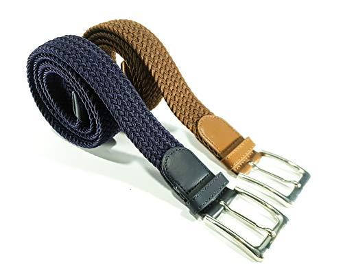 Cinturón trenzado elástico y extensible 2 piezas cinturones con hebilla para hombre y mujer. Pack de 2 colores (Azul Fuerte-Marrón, 115cm)