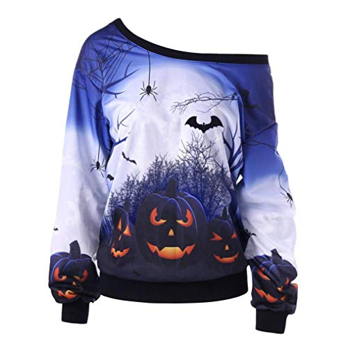 VEMOW Custume Damen Halloween Party Skew Neck Herbst Frühling Kürbis Print Casual Party Täglich Sport Sweatshirt Jumper Pullover Tops(Blau, EU-48/CN-2XL) (Stiefel Womens Columbia Wasserdichte)