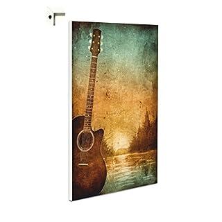 Pinnwand Magnettafel Memoboard Motiv Gitarre & Noten im Retro Vintage Stil (40 x 60 cm)