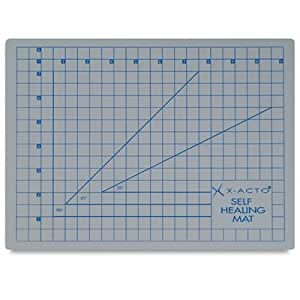 """X-ACTO X7760 Self Healing Cutting Mat With Non-stick Bottom, Gray, 1 Inch Grid, 9 X 12"""""""
