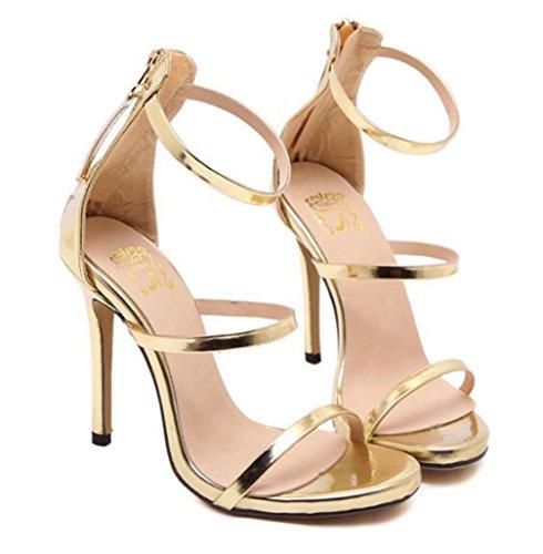 TWGDH Stiletto Sandalen Damen High Heels Riemchen Offene Zehe Knöchelriemen Abend Party Prom Schuhe,Golden,36 - Stiletto Prom Schuhe