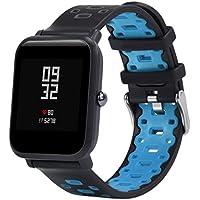 Zolimx Ligero Ventilar Suave Silicona Reloj Banda Pulsera para Xiaomi Huami Amazfit Bip Juventud Smartwatch (190×20 mm, B)