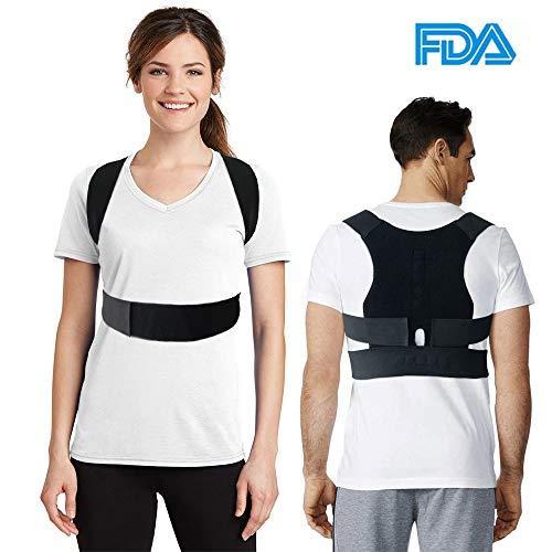 Corrector de Postura de Espalda Brace Ajustable Hombro Band Corrección Cinturón Negro