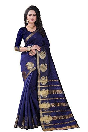 I-Brand Net Saree With Blouse Piece (ISUNSA_V_2694_Blue_Free Size)