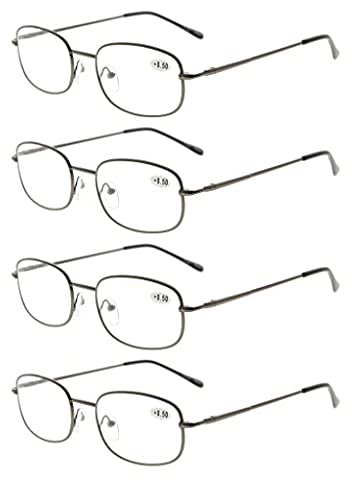 Eyekepper Metal Frame Spring Hinged Arms Reading Glasses Pack of 4 Pairs +1.5