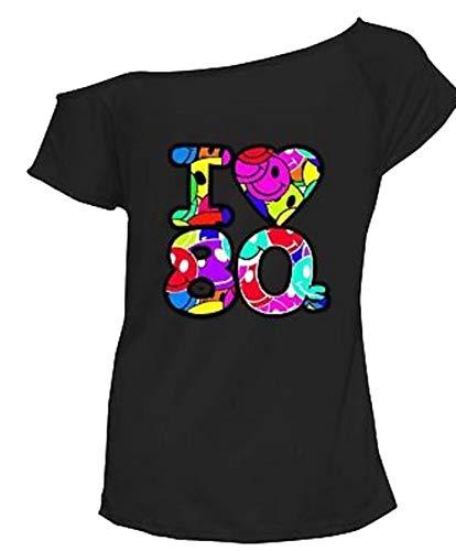 Ladies Off Shoulder Multi Ich Liebe 80er Jahre Top Women Neuheit Shirt