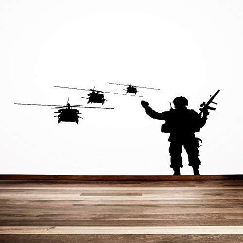 wukongsun Adesivo murale Regalo Speciale decoratore Militare Cool Warrior Silhouette con Elicottero Volante Fresco da Parete in Vinile Nero 45X47 cm