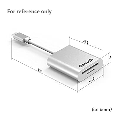 USB Type C Card Reader?Bastch USB C Card Reader Aluminum Superspeed USB 3.0 2-In-1 Card Reader for SD Card/Micro SD Card/TF Card for 2016 MacBook Pro and more USB C Devices by Bastch