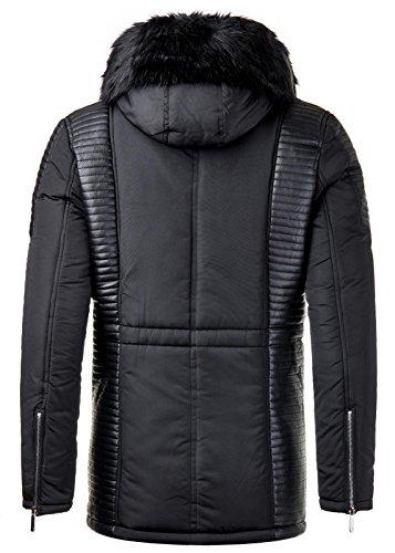 Burocs Herren Parka Winter-Jacke Gesteppt Fell-Kapuze Zipper Schwarz BR1622 Schwarz