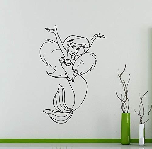 YuanMinglu Wandaufkleber kleine Prinzessin Cartoon Vinyl Kunst Wandtattoo Home Kinderzimmer Innendekoration Kinder Mädchen 66X98.4CM