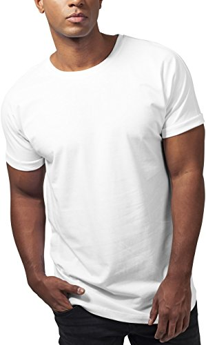 Urban Classics Herren T-Shirt Long Shaped Turnup Tee, Weiß (White 220), Medium (Mann Tee Lange)