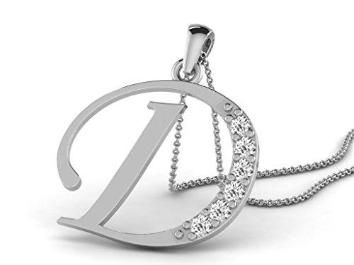 Or Blanc 9 ct Pendentifs Diamant en forme de Alphabet D, 0.13 Ct Diamant, GH-SI, 0.55 grammes.