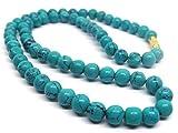 Himalaya Rudraksha Kendra 100 % Original Blue Turquoise Semi Precious Gemstone Beads Fashion Necklace 8 Inches Length For Women/Girls