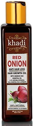 Khadi Global Red Onion Hair Oil for Hair Growth with Argan, Jojoba, Rosemary, Black Seed Oil in Purest Form Ve