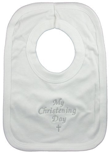 My Christening Day Baby Bib White Soft Cotton Pop-Over by RW