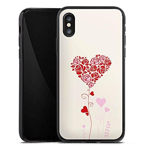 Apple iPhone X Silikon Hülle Case Schutzhülle Muster Rosen Herz Love Silikon Case schwarz