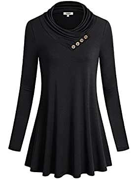 Anna Smith Women Button Cowl Neck Una Línea Manga Larga Acampanada Dobladillo Blusa Túnica Top