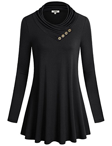 Anna Smith Women Button Cowl Neck A Line Long Sleeve Flared Hem Tunic Blouse Top