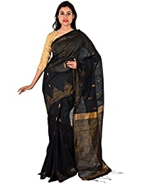 TJ SAREES Bengal Handloom Cotton Silk Saree (Black)