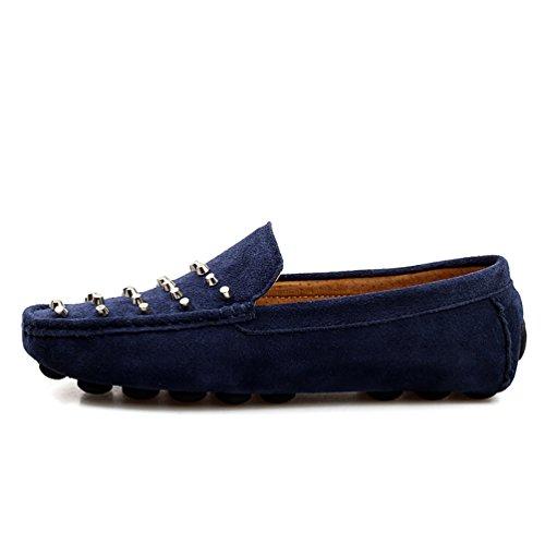 Baymate Moccassins Homme Plats Slip-on Loafers Loisirs Chaussures de Conduite Sombre Bleu