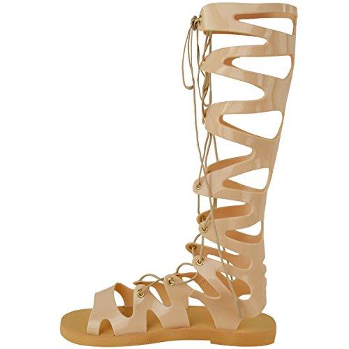 Femmes Genou Lacet Sandales Gel Spartiates Plates Chaussures D'été Taille Couleur Chair