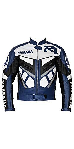 Corso Fashion Yamaha Herren-Motorradjacke aus Leder - Motorrad- und Rennrad- und Motorradausrüstung - maßgefertigt Gr. Small, Mehrfarbig